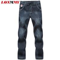 LONMMY PLUS SIZE 5XL 6XL Denim Overalls Men Trousers 65 Cotton Skinny Jeans Men Elastic Waist