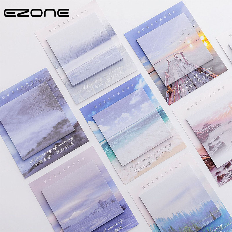 EZONE Scenery Sticky Note Printed Cute Sea/Tree/Bridge Memo Pad For Planner Notes N Times Bookmark Notepad School Office Supply