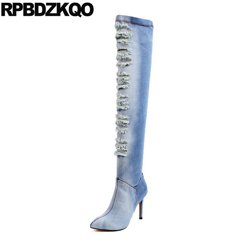 Stiletto Blue Denim Boots Pointed Toe Elastic Slim Women Over The Knee Stretch Cut Out Jeans High Heel Brand Long Shoes Autumn black stretch fabric suede over the knee open toe knit boots cut out heel thigh high boots in beige knit elastic sock long boots
