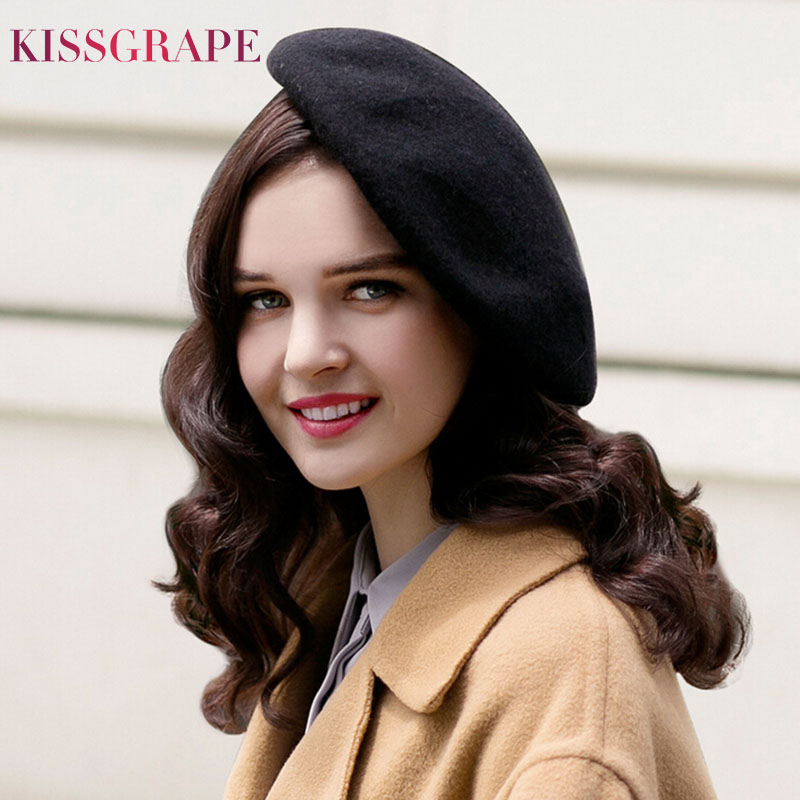 2017 Autumn Winter Women S Warm Knitted Wool Berets Ladies Elegant Solid Color Beret Cap New