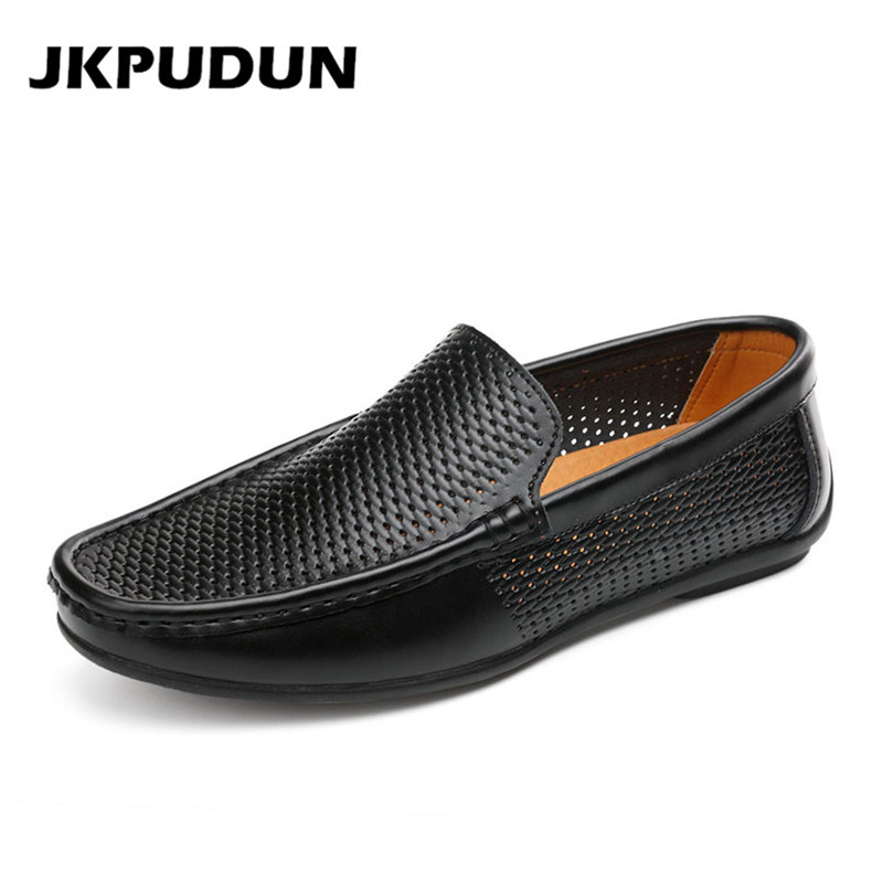 JKPUDUN Casual Hollow Out Shoes Men Penny Loafers Luxury