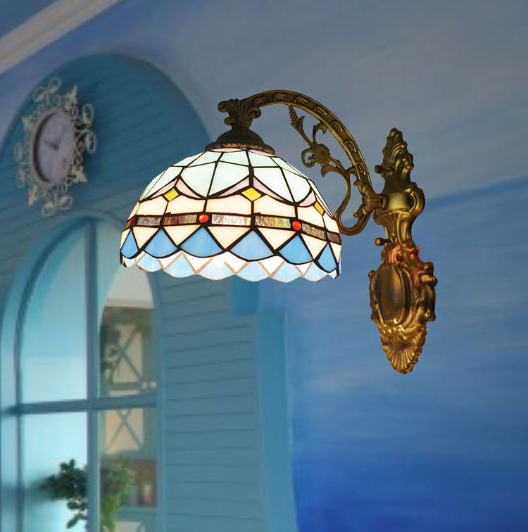 Mediterranean Tiffany Blue Modern Baroco Style Wall Lamp Antique Lighting Stained Glass Shade for Aisle Wall Lamp Light FixtureMediterranean Tiffany Blue Modern Baroco Style Wall Lamp Antique Lighting Stained Glass Shade for Aisle Wall Lamp Light Fixture