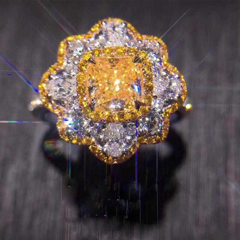 ANI 18 K Wit Goud (AU750) vrouwen Trouwring Certified H/SI1 2.2 Carat Echte Prinses Oranje Diamant Sieraden Mode Ontwerp Ring