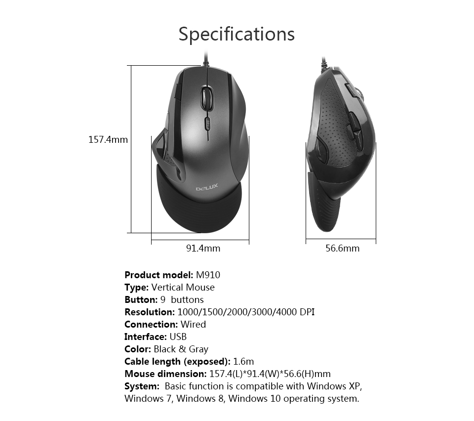 Delux M910 wired gaming mouse Ergonomic design Removable wrist support for portable mouse Reduce wrist pressure For PC Laptop