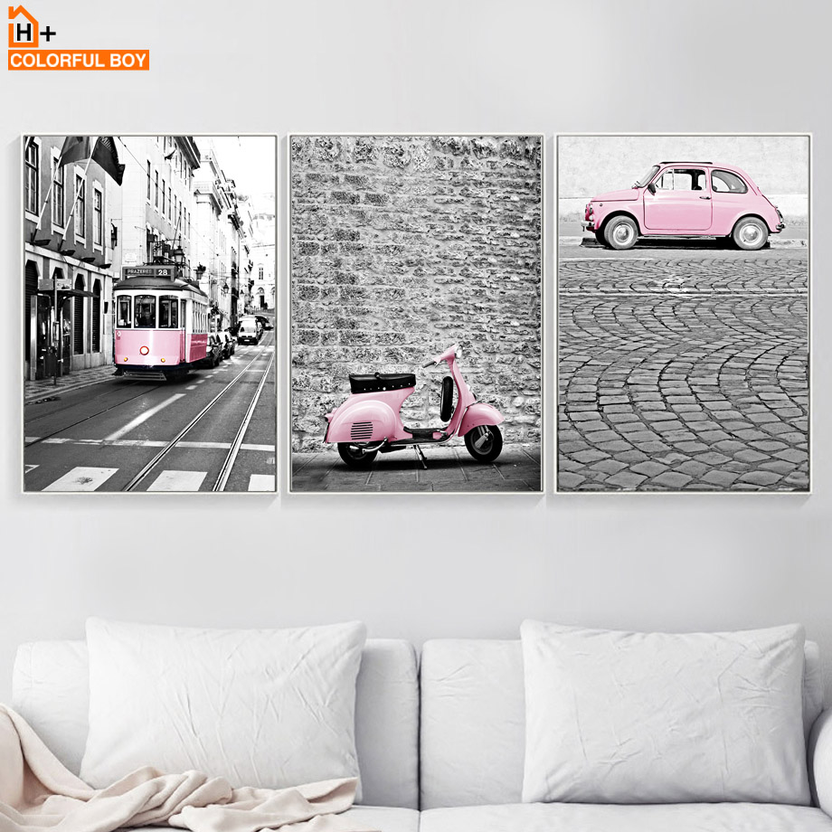 COLORFULBOY Wall Art Canvas Painting Modern London Landscape Posters And Prints Pink Vehicle Wall Pictures For Living Room Decor