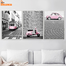 COLORFULBOY Wall Art Canvas Painting Modern London Landscape Posters And Prints Pink Vehicle Pictures For Living Room Decor