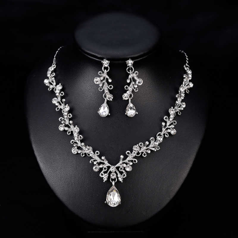 Women S Crystal Diamond Necklace Set Two Piece Fancy Bridal Necklace And Overhang Earrings Wedding Aliexpress