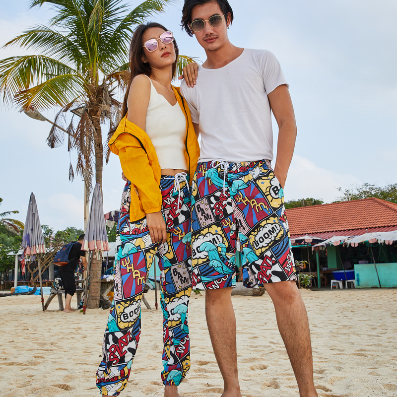 2019 Couple Swimwear Swim Trunks Beach Board Pants Swimsuits Mens Running Sports Surffing Men Women Character Swimming Shorts