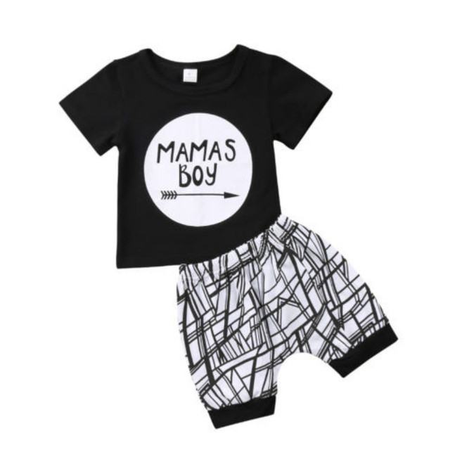 79dbe613c Pudcoco Fashion Newborn Infant Baby Boy Toddler Cotton Blend Letter Print MAMAS  BOYS T-shirt Tops+Pants Outfit Clothes 0-24m