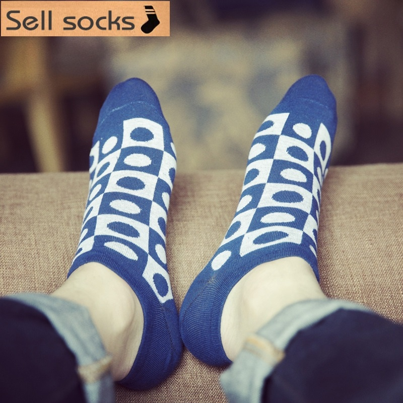new summer Geometric squares dots man Casual ankle cotton socks men boat sock slippers harajuku EUR39-44