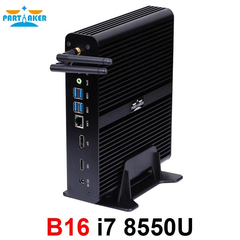 8th Gen Mini PC Windows10 Intel Core i7 8550U 4 ядра 4,0 ГГц безвентиляторный мини-компьютер 4 К HTPC Intel UHD Графика 620 Wifi