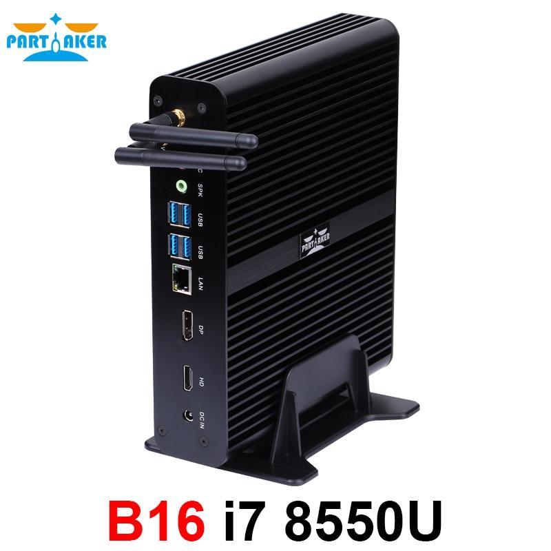 8th Gen Mini PC Windows10 Intel Core i7 8550U Quad Core 4.0GHz sans ventilateur Mini ordinateur 4K HTPC Intel UHD Graphics 620 Wifi