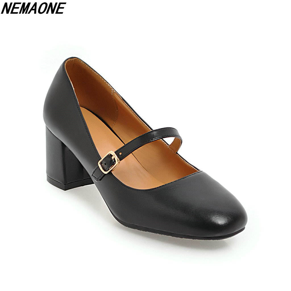 NEMAONE 2018 New Fashion Mary Janes Office Lady Pumps Round Toe Square Buckle  Women Shoes 5cm High heels цена и фото