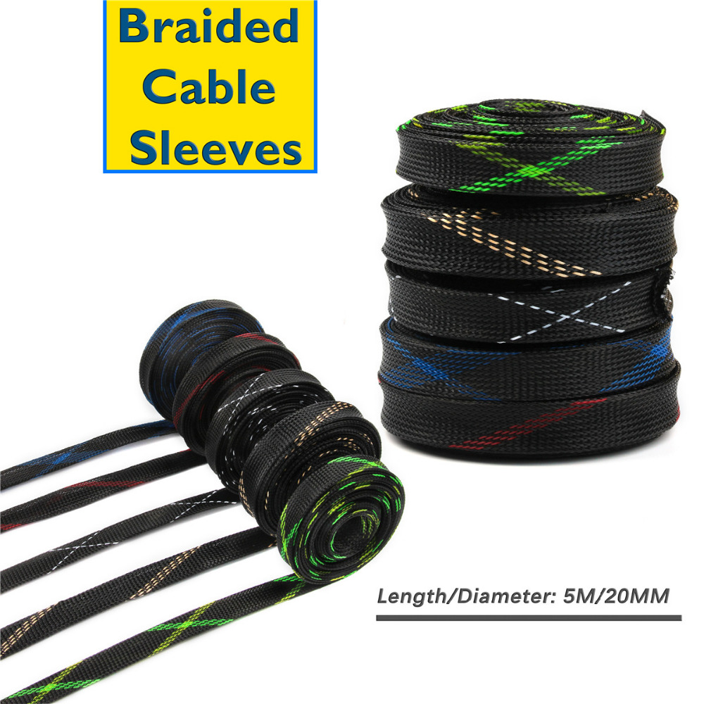 5 Colors Braided Wire Cable Sleeves 20mm 5M PET Nylon Snakeskin Mesh Wire Protecting Cable Sleeve Wire Mesh Shock For Cable Sets 5m yaskawa servomotor sgmgh 13aca61 driver sgdm 15ada encoder connecting cable wire