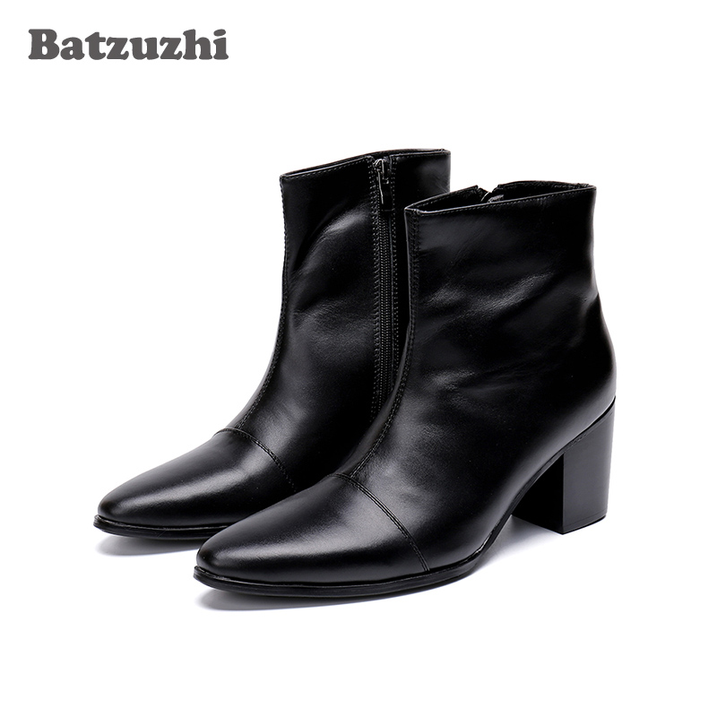Batzuzhi Men Boots 7CM High Heels Genuine Leather Boots Men Ankle Black Knight Boots Men Handsome Botas Hombre Party/Wedding Men