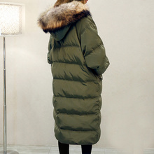 Winter Coat Elegant Women High end Down Jacket Hooded Fur collar Thicken Warm Pure color Loose