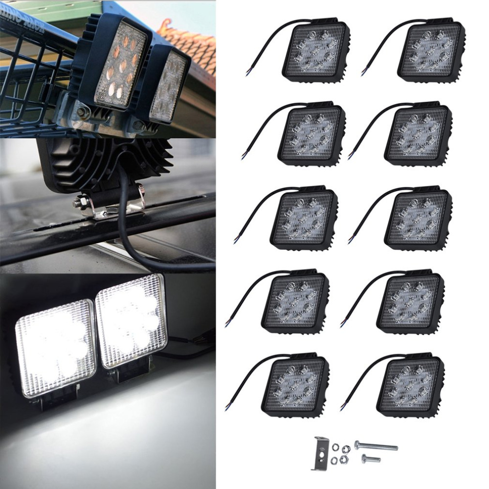 2/4/6/8/10pcs 27W LED Work Light Spot Fog Driving 4X4 For Jeep Truck Boat ATV Low Power Consumption Anti-corrosion