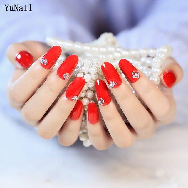 24pcs/Set Long Design Wedding Bride Nail Art Tips Rhinestone Decal ...