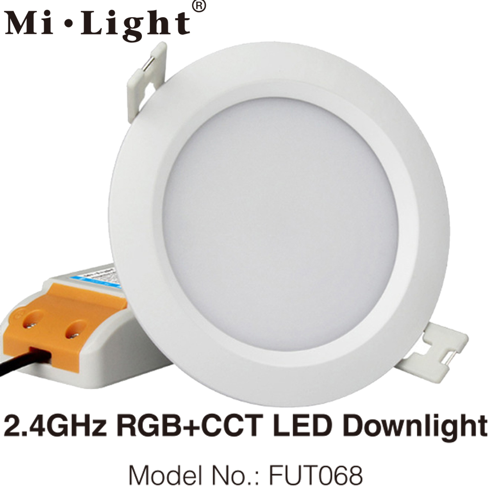 FUT068 Milight 2.4G 6W RGB+CCT LED Downlight 85V-265V LED Round Dimmable Reccessed LED Light With 2.4G 4zone Remote Support WiFi