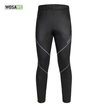 WOSAWE Cycling Pants Fleece Thermal Waterproof Bike Pants Polyester PU Trousers Winter Black Pantalones Sportswear Underwear 50