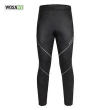 WOSAWE Cycling Pants Fleece Thermal Waterproof Bike Pants Polyester PU Trousers Winter Black Pantalones Sportswear Underwear 50
