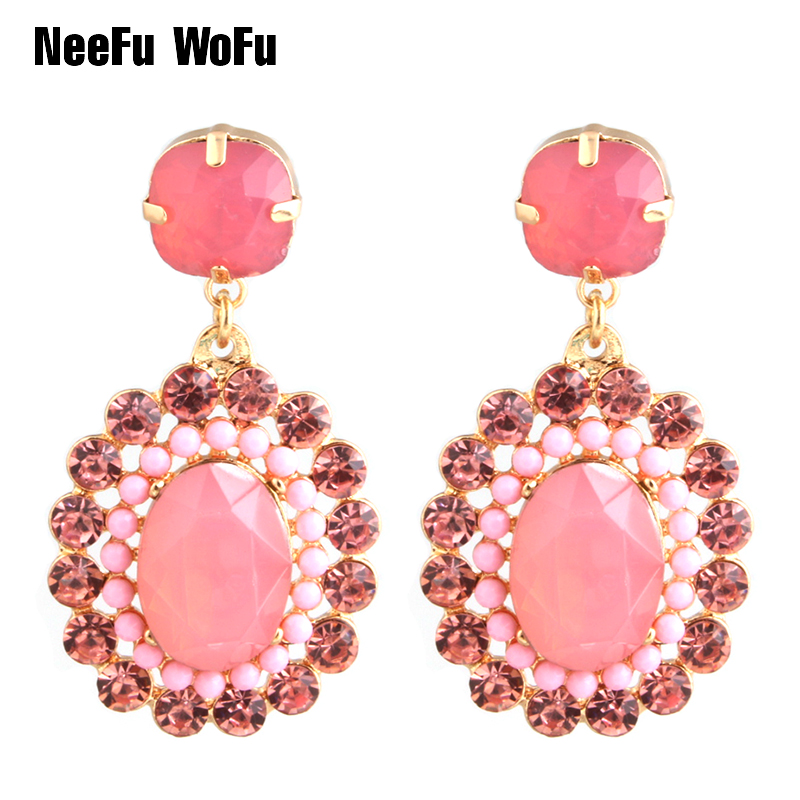 NeeFu WoFu Oval Drop Rhinestone Big Earring Dangle Zinc alloy Large Long Brinco Printing Ear Accessories Oorbellen