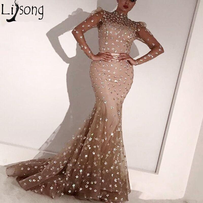 Abendkleider Mermaid Evening Dresses Long Sleeves Formal Dress Arabic Women Sparkly Prom Gowns 2019 Vestido De Festa Longo