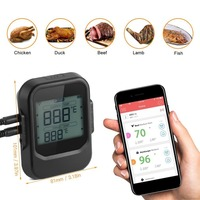 BBQ Thermometer Food Cooking Bluetooth Wireless BBQ Thermometer With Six Probes and Timer For Oven Meat Grill Free App Control