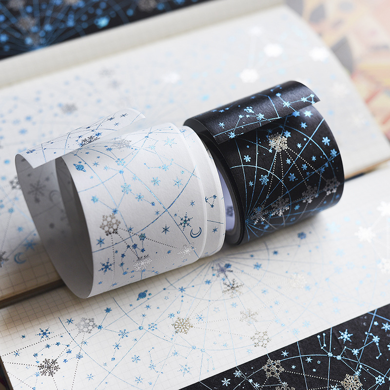 Shining Snow And Stars Beautiful Wide Washi Tape 50mm*5M Creative Masking Tape 1 Piece DIY Journal Diary Supplies vintage times design high quality washi tape 10cm 5m diy journal diary decoration supplies gift free shipping