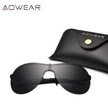 Бренд AOWEAR, негабаритные поляризованные солнцезащитные очки, мужские большие солнцезащитные очки без оправы, мужские HD очки для вождения, для улицы, солнцезащитные защитные очки