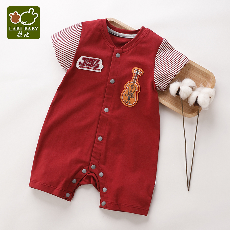 LABIBABY Baby Unisex Romper One-Pieces Deep Red Summer Cotton for 0-12 Months Outdoor Party infant clothes