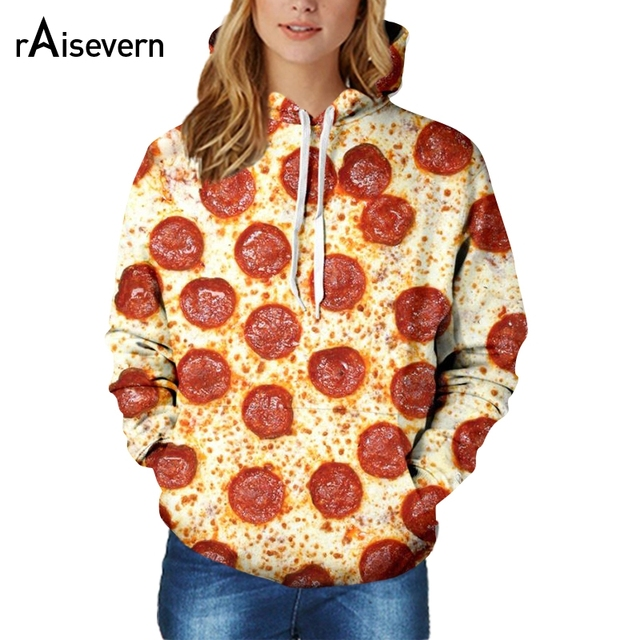 9f7ab7603cb1 Raisevern new funny food printing 3D hoodies pizza ice  cream strawberry hamburger sweatshirts