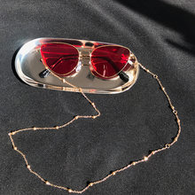 Fashion Chic Womens Gold Silver Eyeglass Chains Sunglasses Reading Beaded Glasses Chain Eyewears Cord Holder neck strap Rope(China)