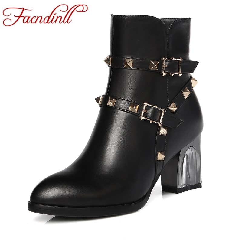 FACNDINLL genuine leather ankle boots women pointed toe thick high heels lady short boots black zipper rivets riding boots 33-43