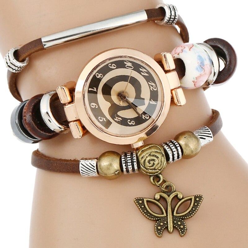 Top Leather Watch Women Triple Bracelet Wristwatch Face Butterfly Charm Fashion Quartz Wristwatch font b Reloj