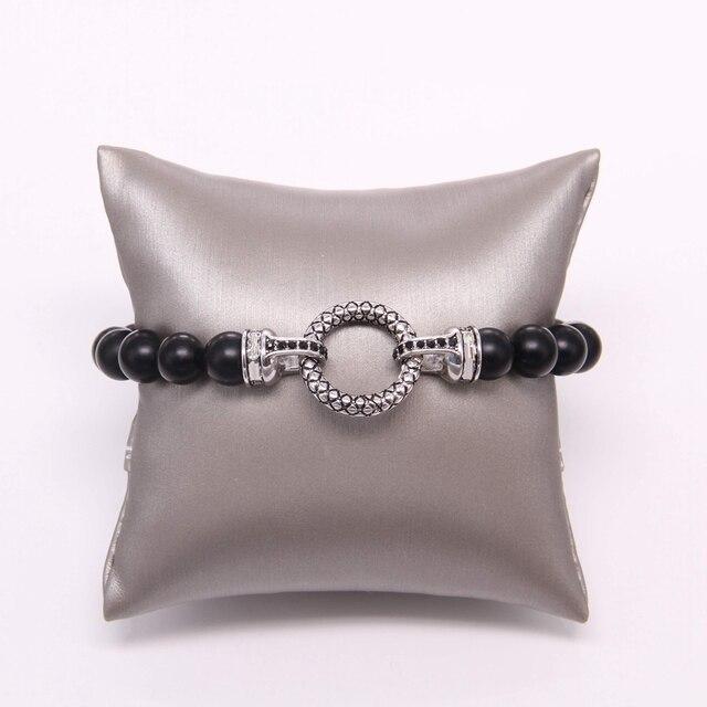 Матовый браслет из бисера thomas black obsidian с круглой застежкой