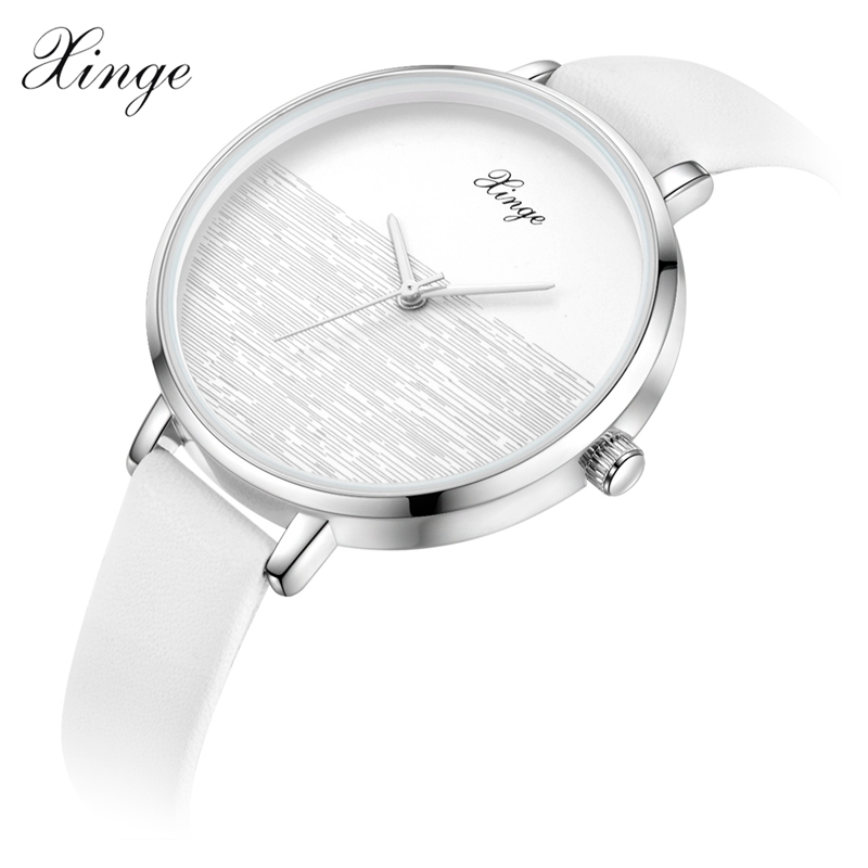 Xinge New Vintage Leather Women Watches 2017 Luxury Top Brand Simple White Casual Quartz Watch Women Clock Relogio Feminino xinge top brand luxury women watches silver stainless steel dress quartz clock simple bracelet watch relogio feminino