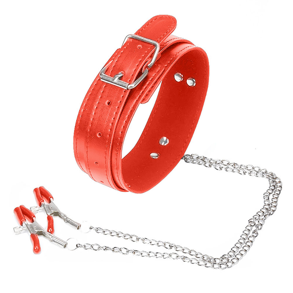 Faux Leather Choker Collar with Nipple Breast Clamp Clip Chain Couple SM Sex Toy Hot in Gags Muzzles from Beauty Health