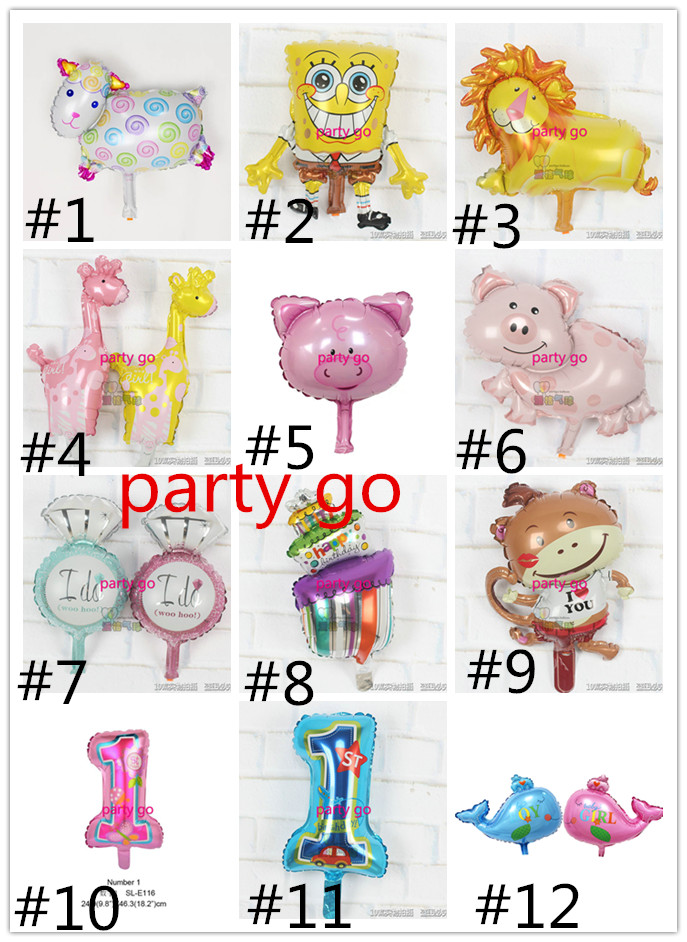 Mix 50pcs/lots Kids birthday balloons Mini cake number sheep Balloons Boy Happy