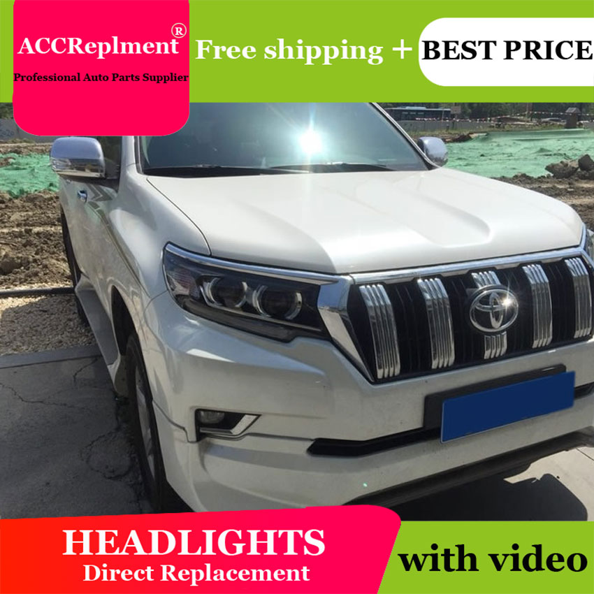 Car Styling for Toyota Prado LED Headlights 2018 Prado LED Lens Double Beam H7 HID Xenon bi xenon lens ownsun led double y sharp eagle eye drls hid bi xenon projector len original replacement headlights for toyota camry 2015