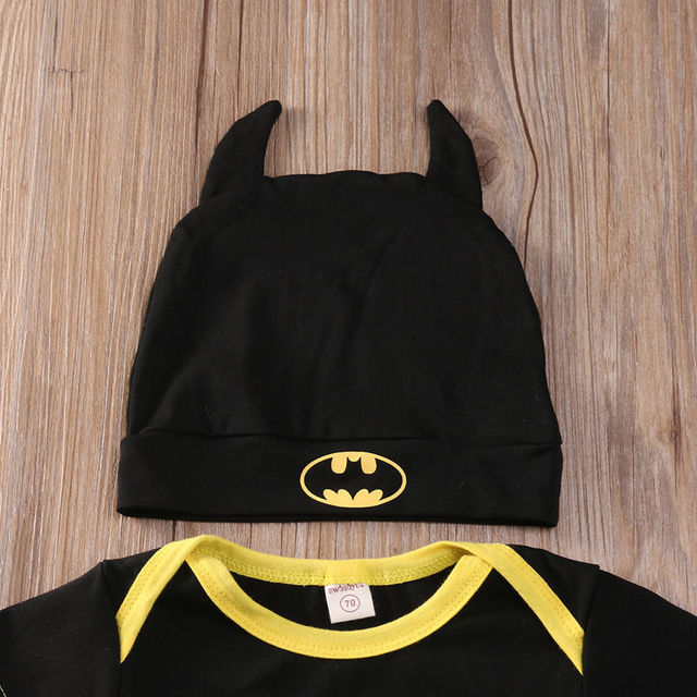 Fashion Batman Baby Boys Rompers Jumpsuit Cotton Tops+Shoes+Hat 3Pcs Outfit Clothes Set Newborn Toddler 0-24M Kids Clothes 4
