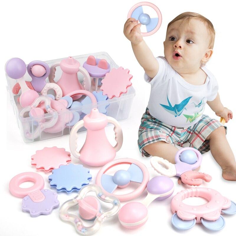 Coffre-fort peut faire bouillir bébé doux Silicone hochet en plastique Jingle Bell jouets bébé dentition soin morsure dentition set cadeau