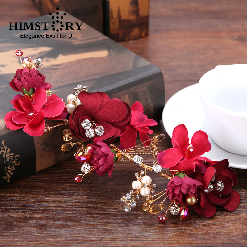 HIMSTORY Elegant Tiara Red Flower Tiaras Wedding Hair Jewelry Bridal Accessories Handmade Headpiece Headband