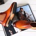 Terse_5 moq botas para hombre zapatos hechos a mano de piel de becerro italiano de cuero genuino botas de invierno de cuero zapatos planos en orange precio de fábrica