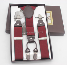 2015 Burgundy man suspenders fashion braces gift box Adjustable 4 Clips Mens Gift  Wedding apparel accessories