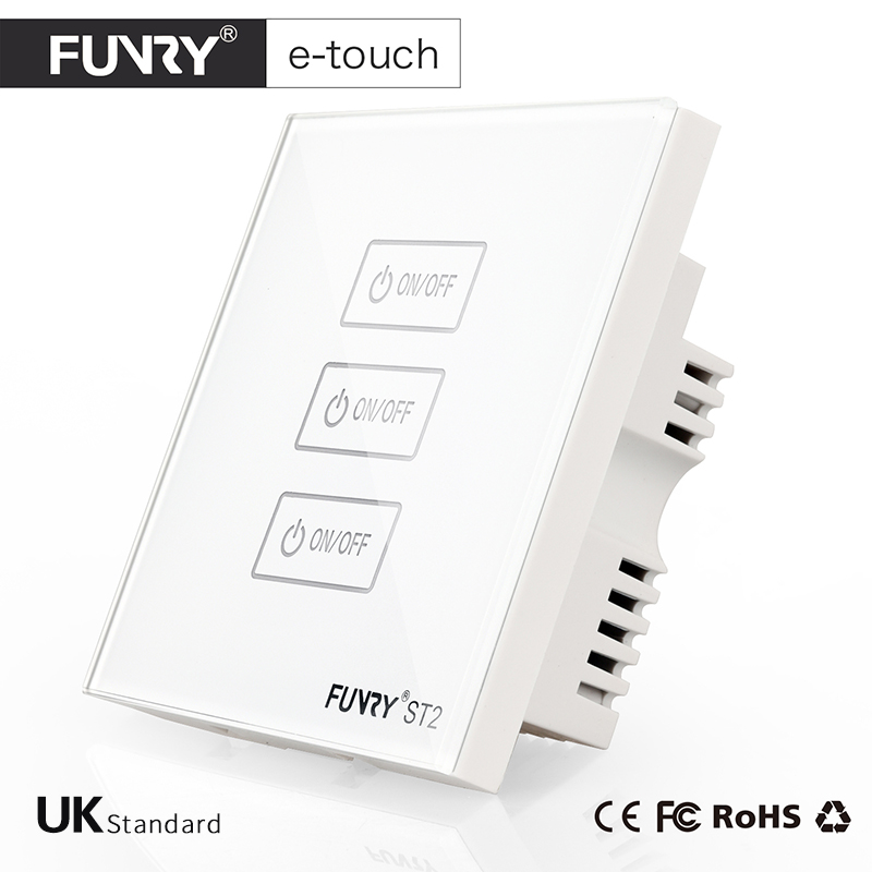 FUNRY ST2-UK Standard Touch Switch 3 Gang 1 Way White Crystal Glass Panel Smart Wall Switch for Home Automation Free Shipping funry uk standard 1 gang 1 way smart wall switch crystal glass panel touch switch ac 110 250v 1000w for light
