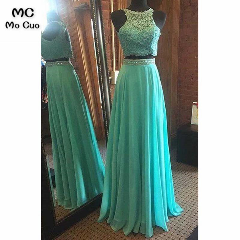 Two Pieces Gown 2019 Beaded   Evening     Dresses   Long Chiffon Floor Length Sleeveless Lace Formal   Evening   Party   Dress