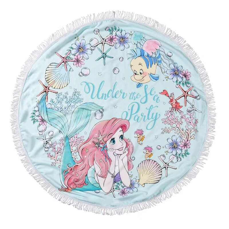 cartoon cute ariel flounder alice rapunzel alien stitch flower princess round blanket travel fleece blanket cape