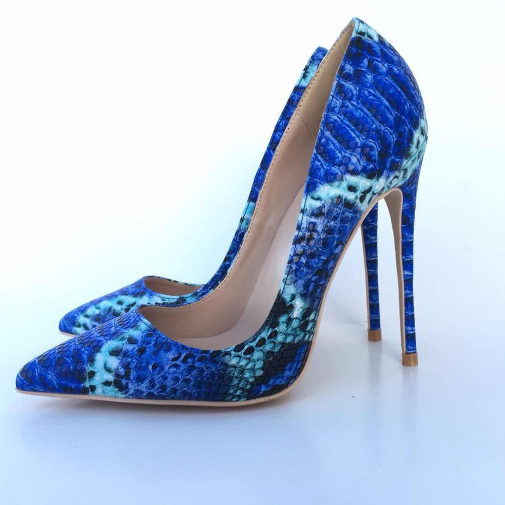 Keshangjia New Arrive Women Shoes Blue Snake Printed Sexy Stilettos High Heels 12cm Toe Tip Women Pumps kiind of new blue women s xl geometric printed sheer cropped blouse $49 016