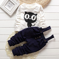 Ropa del bebé del juego del bebé gato de la historieta Casual rayas T-shirt + Overalls 2 unids/set embroma el sistema impreso ropa recién nacido trajes del deporte